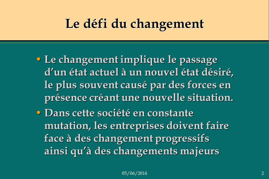 05/06/20142 Le défi du changement Le changement implique le passage dun état actuel à un nouvel état désiré, le plus souvent causé par des forces en p