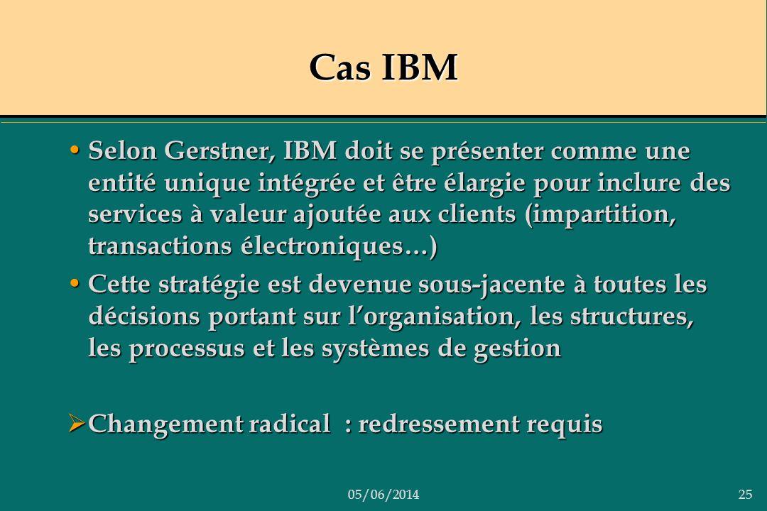05/06/201425 Cas IBM Selon Gerstner, IBM doit se présenter comme une entité unique intégrée et être élargie pour inclure des services à valeur ajoutée