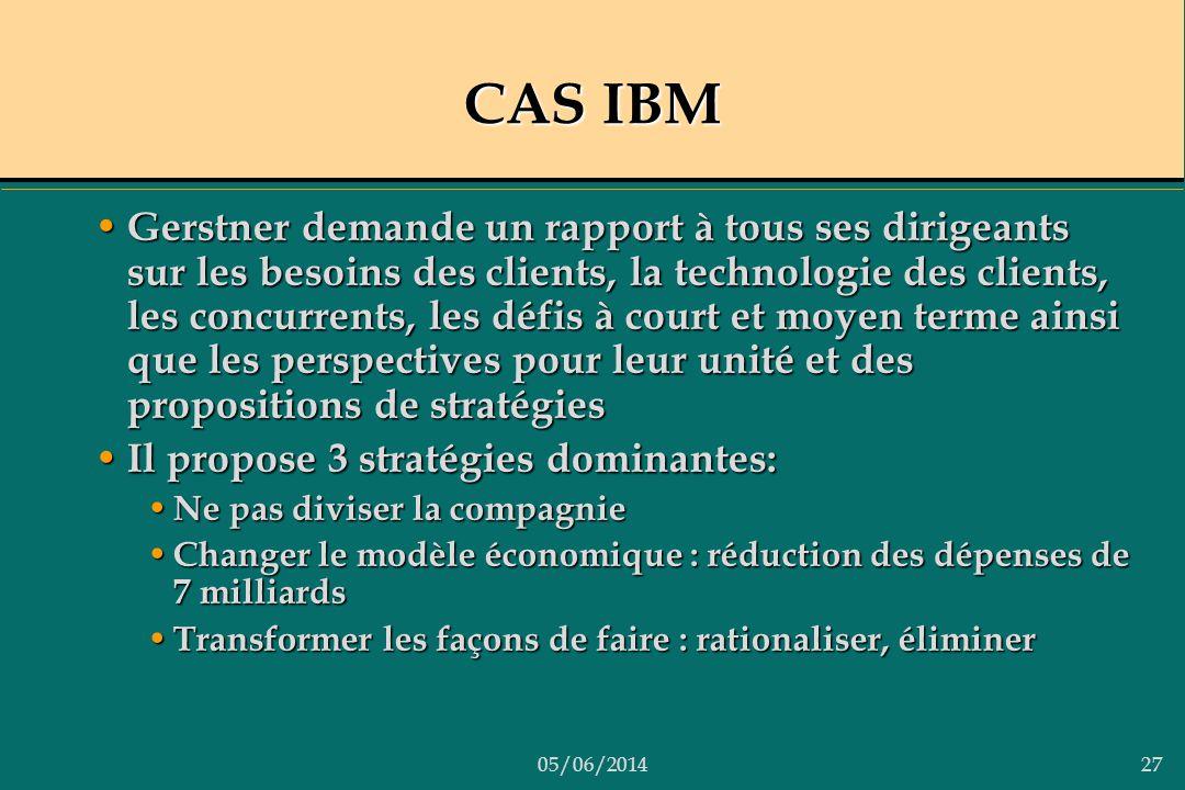 05/06/201427 CAS IBM Gerstner demande un rapport à tous ses dirigeants sur les besoins des clients, la technologie des clients, les concurrents, les d