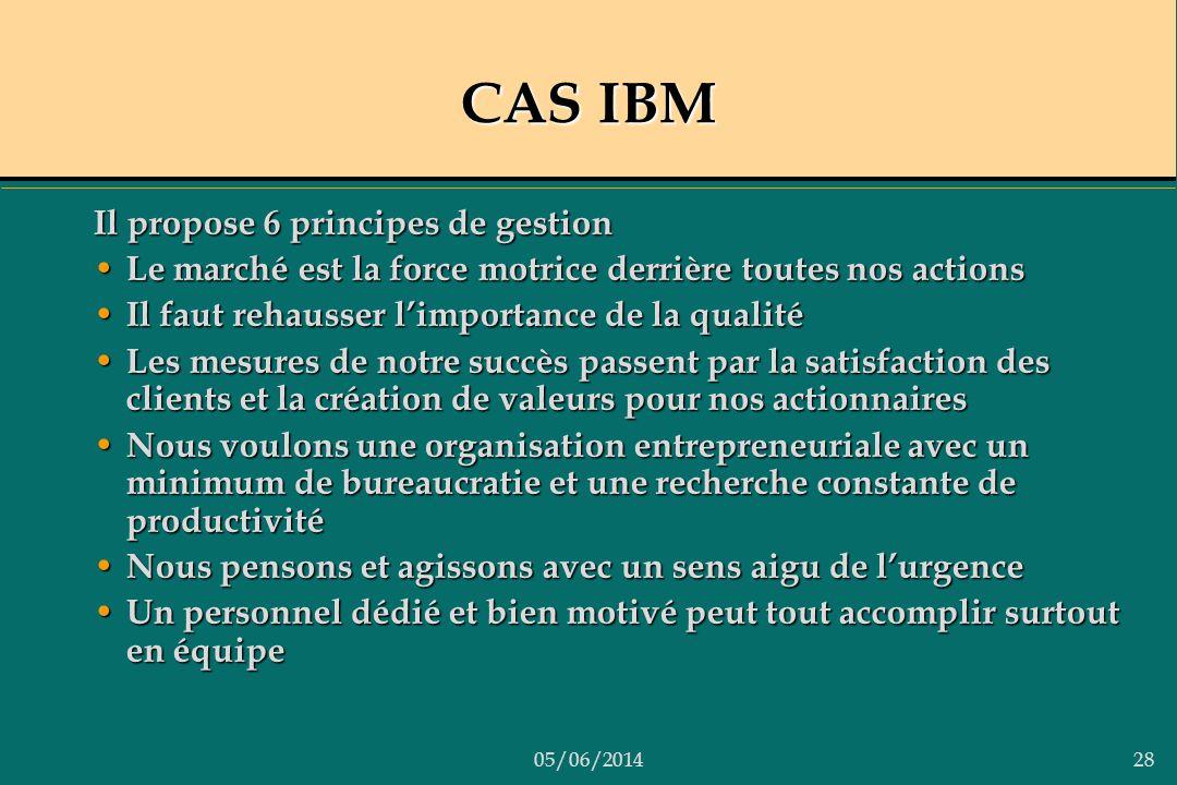 05/06/201428 CAS IBM Il propose 6 principes de gestion Le marché est la force motrice derrière toutes nos actions Le marché est la force motrice derri