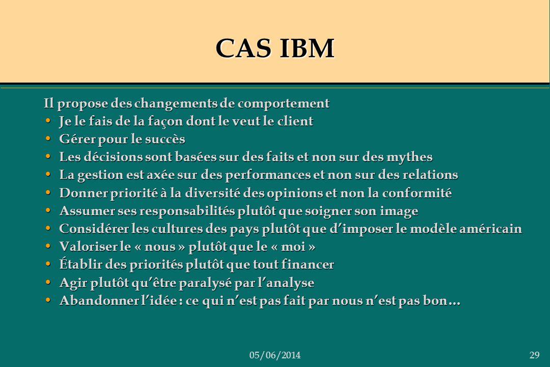 05/06/201429 CAS IBM Il propose des changements de comportement Je le fais de la façon dont le veut le client Je le fais de la façon dont le veut le c