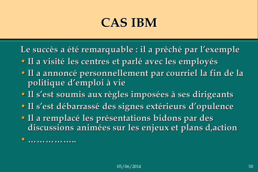 05/06/201430 CAS IBM Le succès a été remarquable : il a prêché par lexemple Il a visité les centres et parlé avec les employés Il a visité les centres
