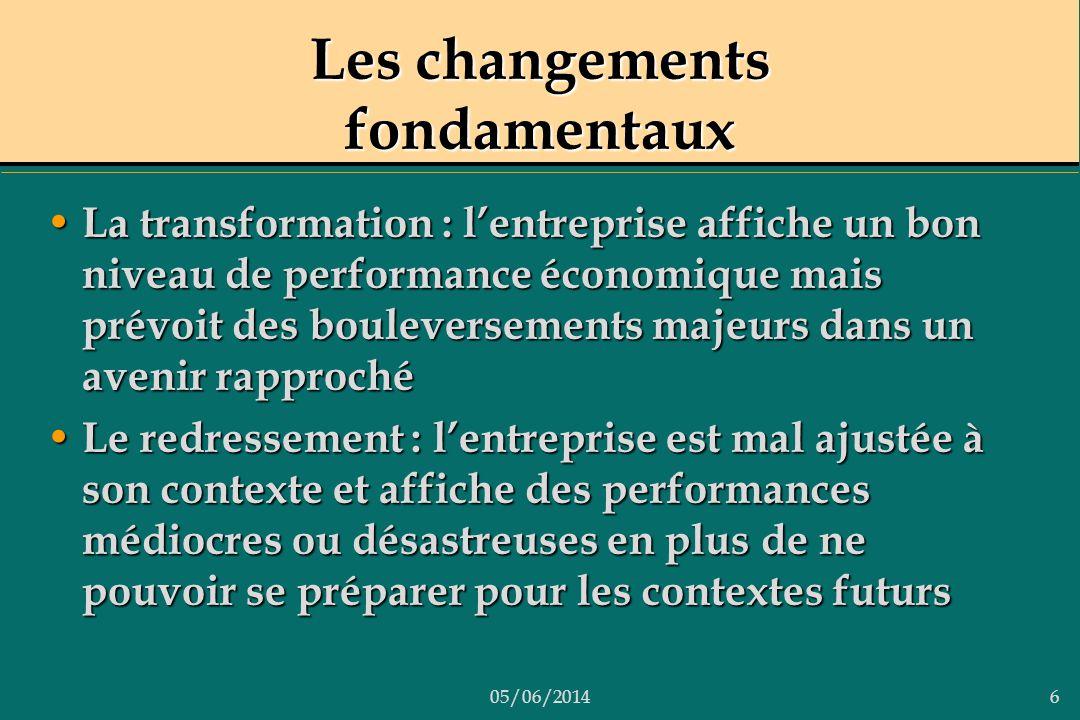 05/06/20146 Les changements fondamentaux La transformation : lentreprise affiche un bon niveau de performance économique mais prévoit des bouleverseme