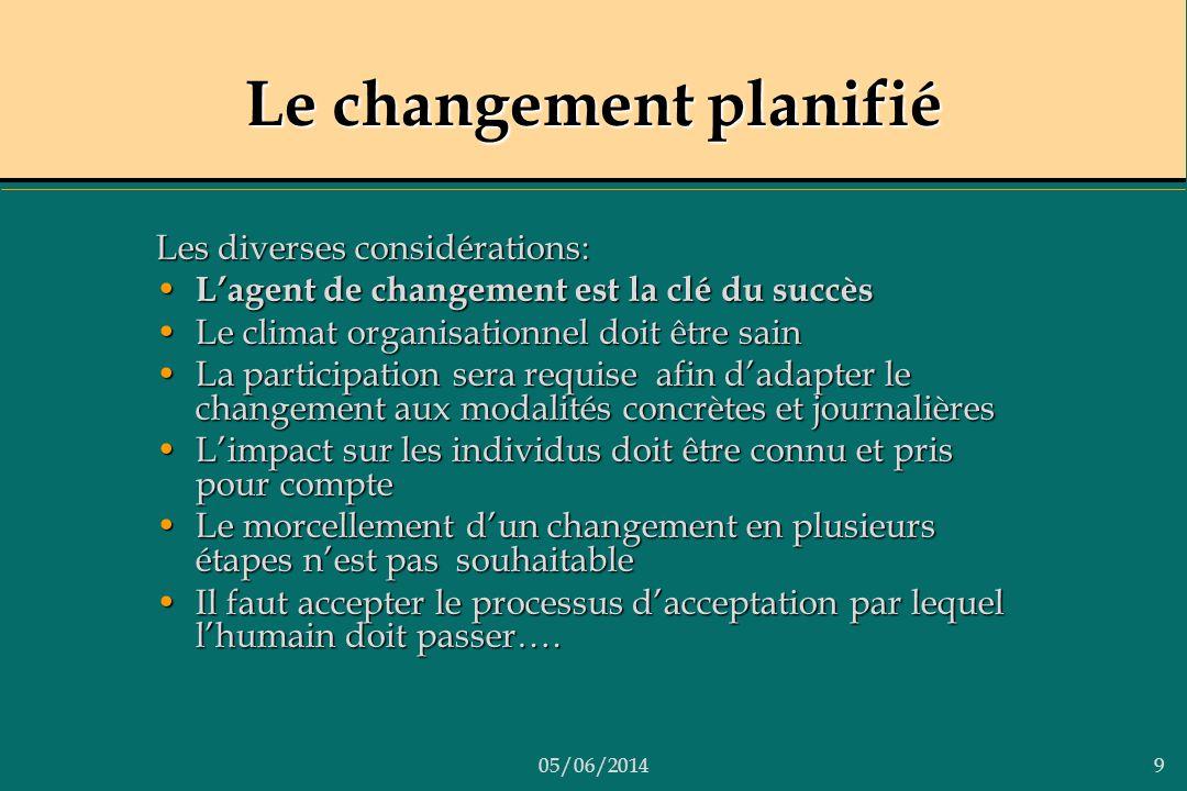 05/06/20149 Le changement planifié Les diverses considérations: Lagent de changement est la clé du succès Lagent de changement est la clé du succès Le