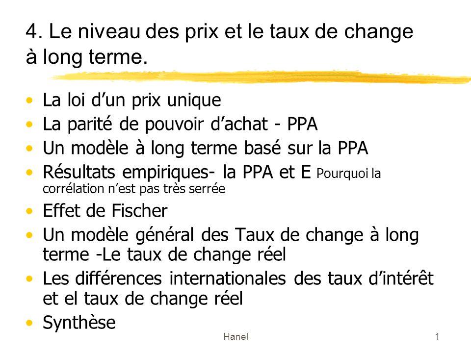 Hanel1 4.Le niveau des prix et le taux de change à long terme.