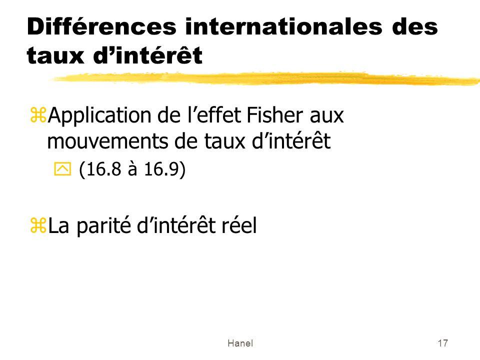 Hanel17 Différences internationales des taux dintérêt zApplication de leffet Fisher aux mouvements de taux dintérêt y (16.8 à 16.9) zLa parité dintérêt réel