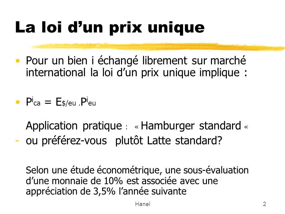 Hanel2 La loi dun prix unique Pour un bien i échangé librement sur marché international la loi dun prix unique implique : P i ca = E $/eu.