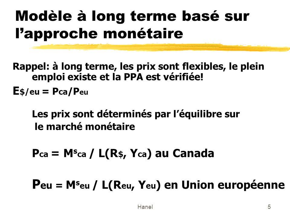Hanel5 Modèle à long terme basé sur lapproche monétaire Rappel: à long terme, les prix sont flexibles, le plein emploi existe et la PPA est vérifiée.