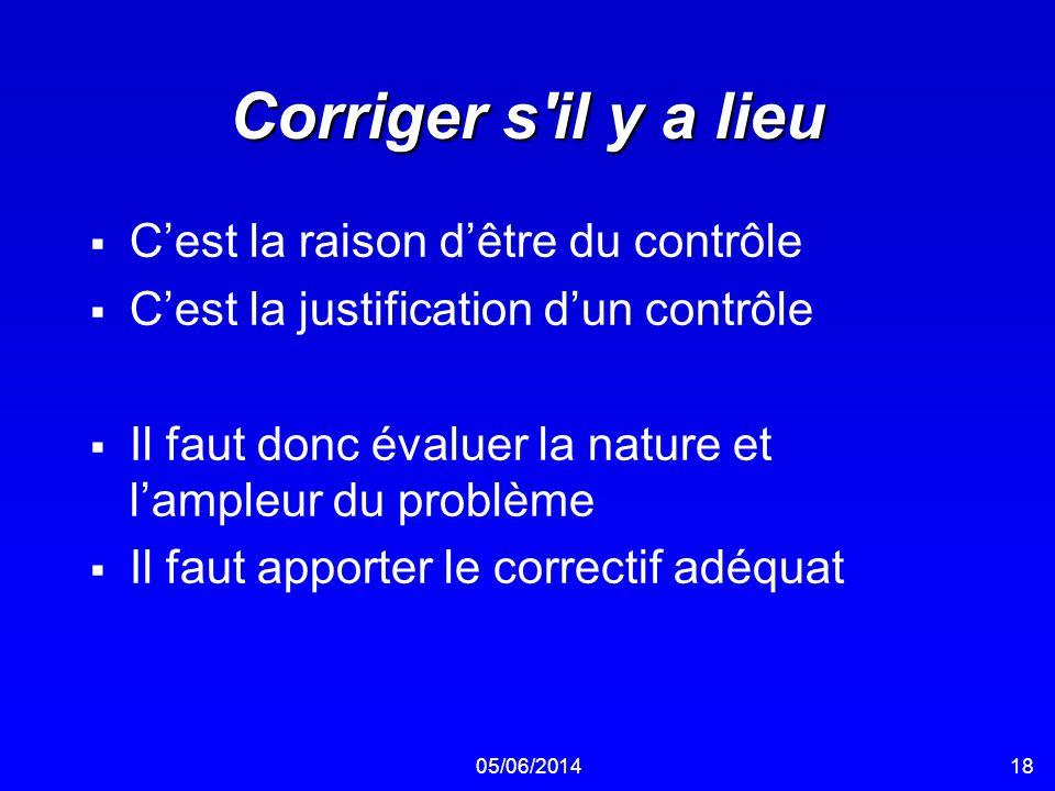 05/06/201418 Corriger s'il y a lieu Cest la raison dêtre du contrôle Cest la justification dun contrôle Il faut donc évaluer la nature et lampleur du