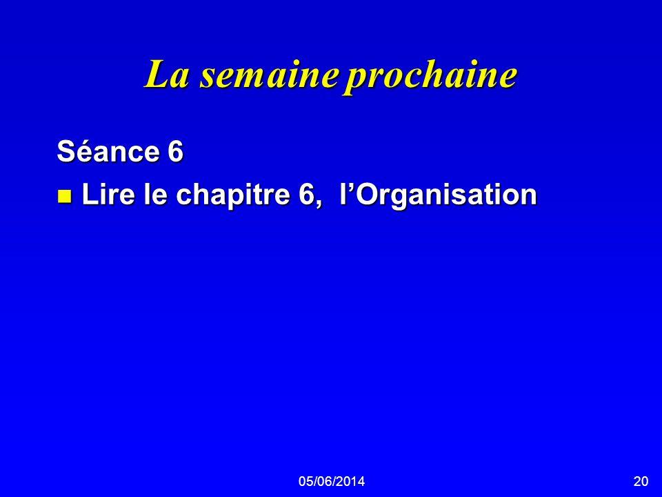 05/06/201420 La semaine prochaine Séance 6 n Lire le chapitre 6, lOrganisation