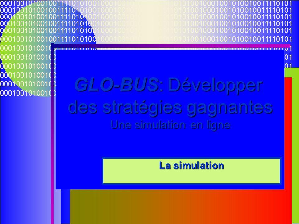 05/06/201422 000100101001001111010100100010010100100111101010010001001010010011110101 GLO-BUS: Développer des stratégies gagnantes Une simulation en l