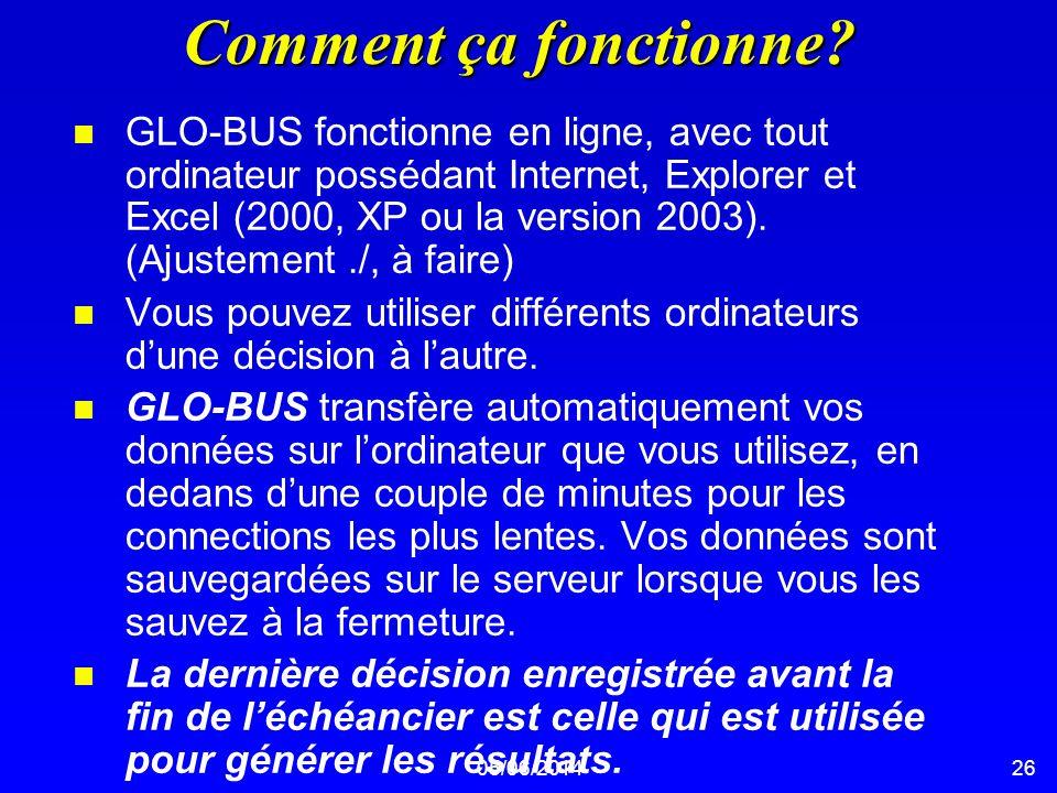 05/06/201426 Comment ça fonctionne? n GLO-BUS fonctionne en ligne, avec tout ordinateur possédant Internet, Explorer et Excel (2000, XP ou la version