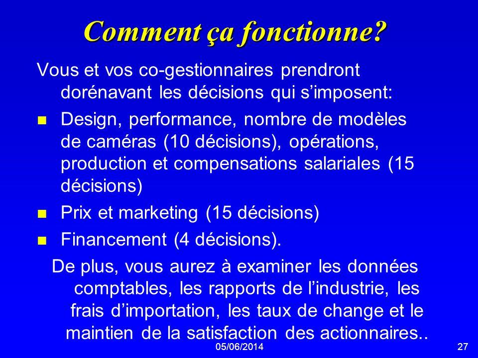 05/06/201427 Comment ça fonctionne? Vous et vos co-gestionnaires prendront dorénavant les décisions qui simposent: n Design, performance, nombre de mo