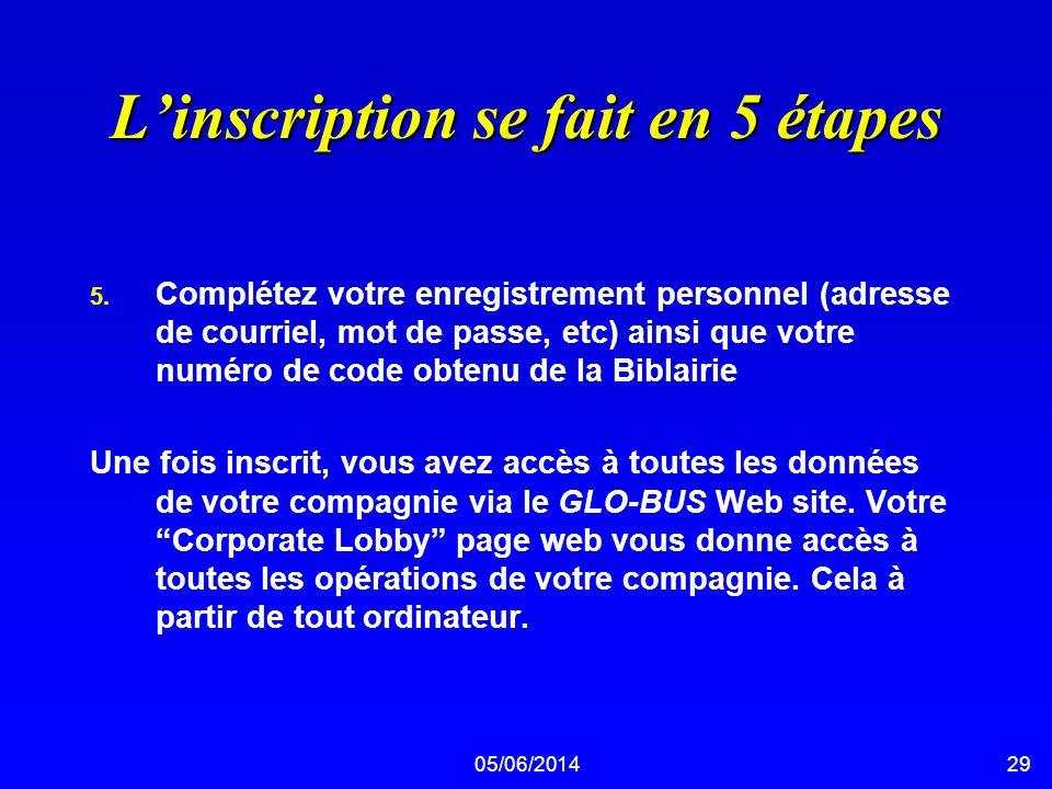 05/06/201429 Linscription se fait en 5 étapes 5. Complétez votre enregistrement personnel (adresse de courriel, mot de passe, etc) ainsi que votre num