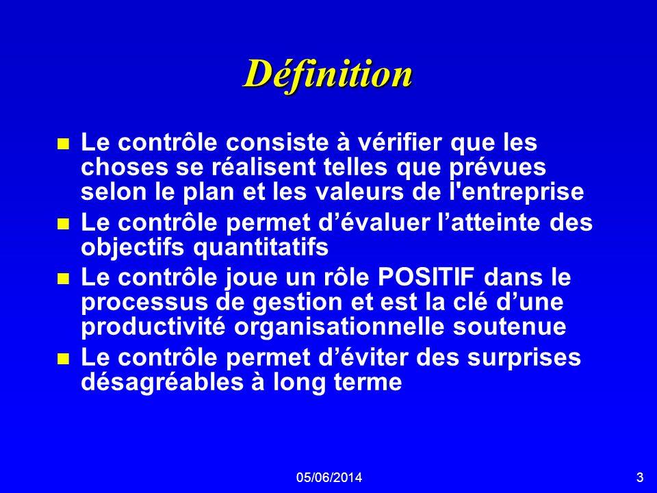 05/06/20143 Définition n Le contrôle consiste à vérifier que les choses se réalisent telles que prévues selon le plan et les valeurs de l'entreprise n