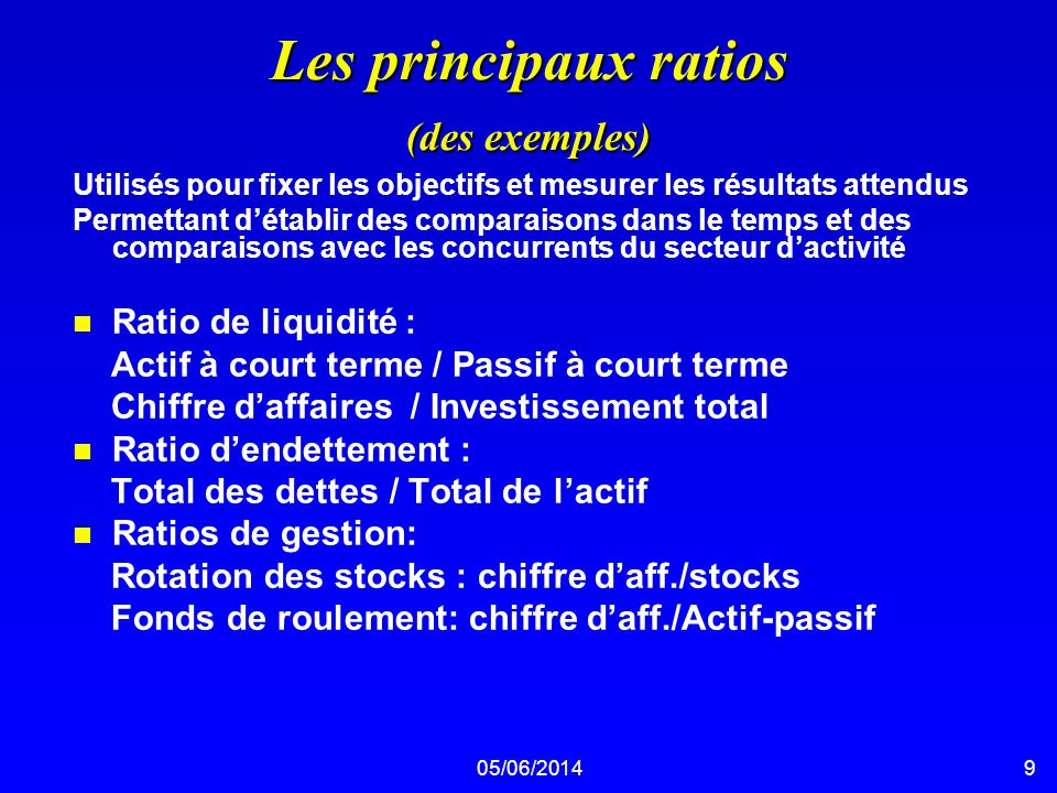 05/06/201410 Les principaux ratios n Ratio de rentabilité : Bénéfices nets après impôts / ventes (BNR) Bénéfices nets après impôts / Actif total (ROI) Bénéfices nets après impôts / Capitaux propres (ROE) Bénéfices avant impôts, intérêts et amortissements (BIIA)