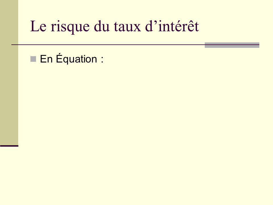 Le risque du taux dintérêt En Équation :
