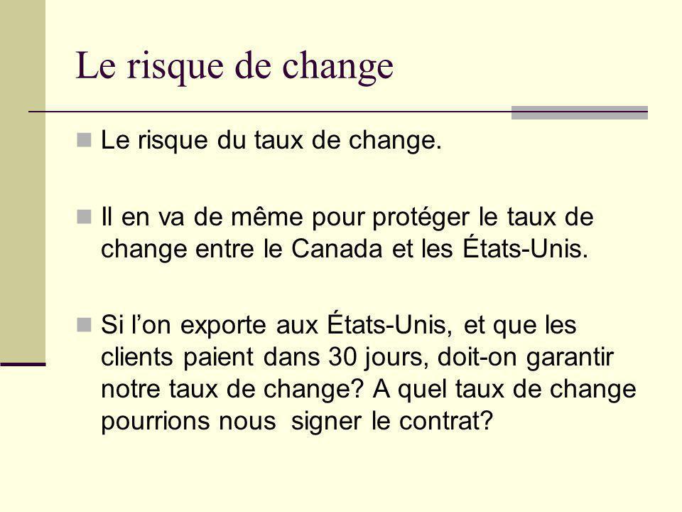 Le risque de change Le risque du taux de change. Il en va de même pour protéger le taux de change entre le Canada et les États-Unis. Si lon exporte au