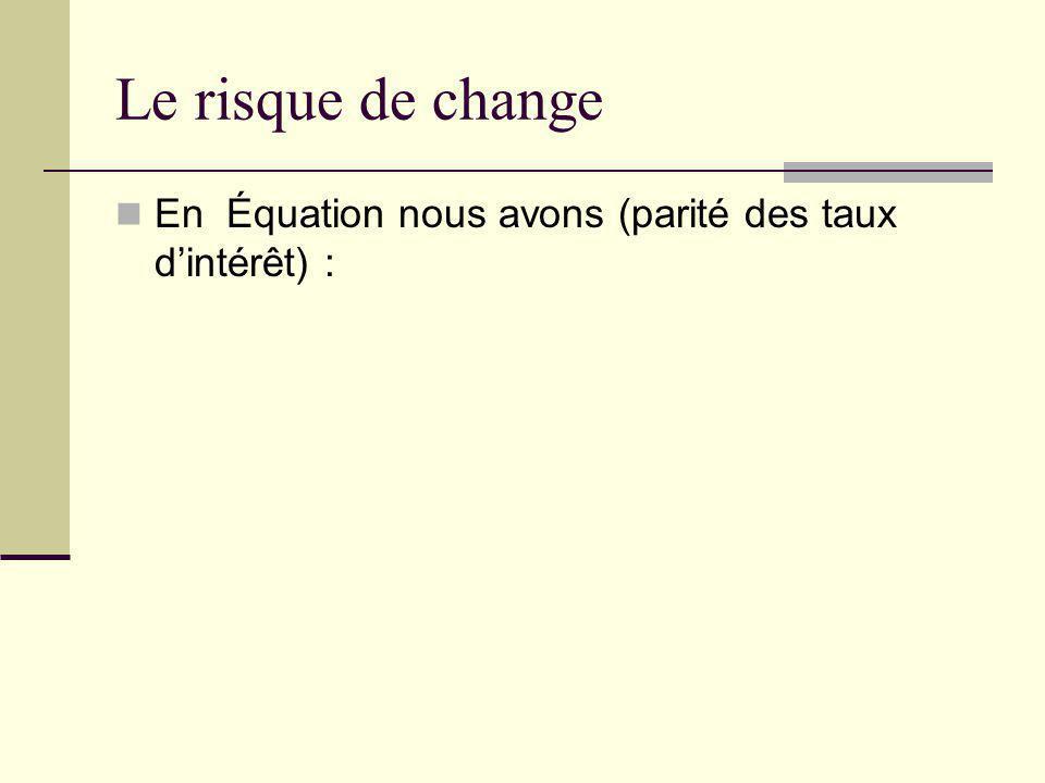 Le risque de change En Équation nous avons (parité des taux dintérêt) :