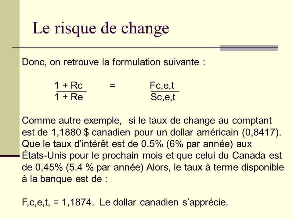 Donc, on retrouve la formulation suivante : 1 + Rc = Fc,e,t 1 + Re Sc,e,t Comme autre exemple, si le taux de change au comptant est de 1,1880 $ canadi