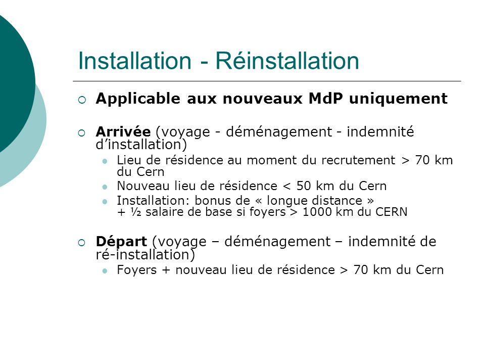 Installation - Réinstallation Applicable aux nouveaux MdP uniquement Arrivée (voyage - déménagement - indemnité dinstallation) Lieu de résidence au moment du recrutement > 70 km du Cern Nouveau lieu de résidence < 50 km du Cern Installation: bonus de « longue distance » + ½ salaire de base si foyers > 1000 km du CERN Départ (voyage – déménagement – indemnité de ré-installation) Foyers + nouveau lieu de résidence > 70 km du Cern