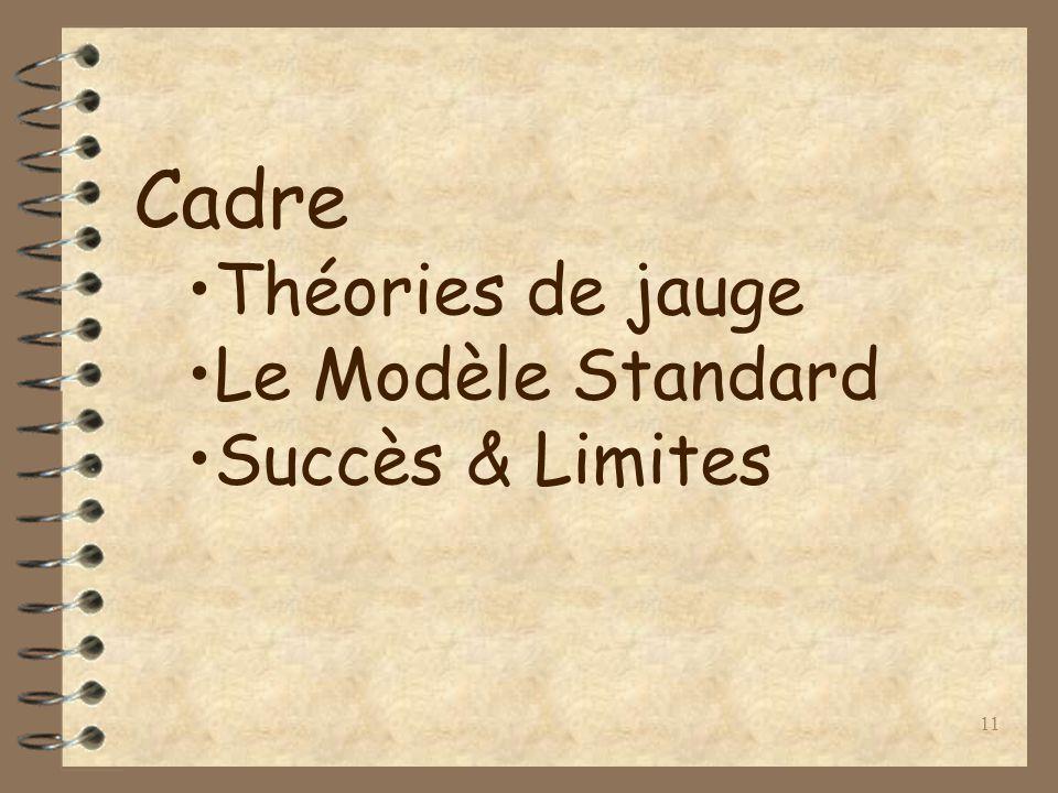 11 Cadre Théories de jauge Le Modèle Standard Succès & Limites