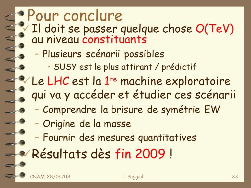 CNAM-28/05/08L.Poggioli33 Pour conclure ü Il doit se passer quelque chose O(TeV) au niveau constituants –Plusieurs scénarii possibles SUSY est le plus attirant / prédictif ü Le LHC est la 1 re machine exploratoire qui va y accéder et étudier ces scénarii –Comprendre la brisure de symétrie EW –Origine de la masse –Fournir des mesures quantitatives ü Résultats dès fin 2009 !
