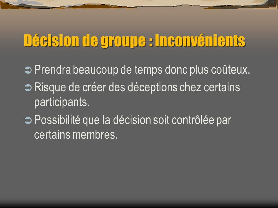 Décision de groupe : Inconvénients Prendra beaucoup de temps donc plus coûteux. Risque de créer des déceptions chez certains participants. Possibilité