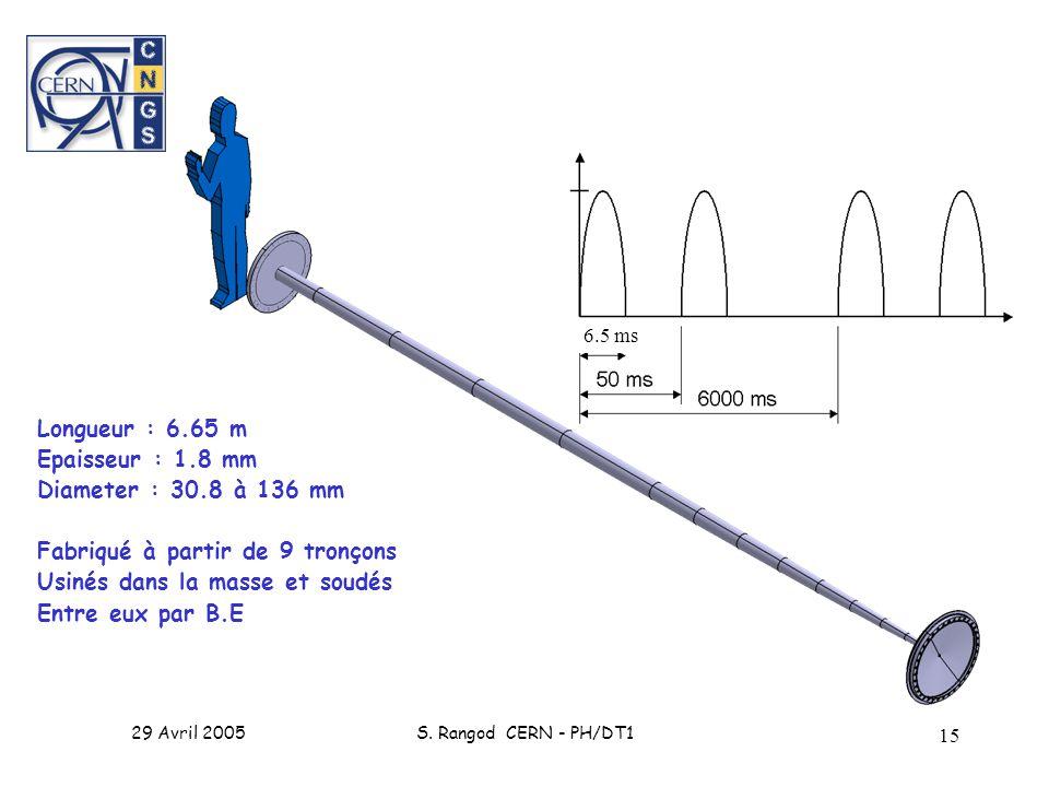 29 Avril 2005S. Rangod CERN - PH/DT1 15 Longueur : 6.65 m Epaisseur : 1.8 mm Diameter : 30.8 à 136 mm Fabriqué à partir de 9 tronçons Usinés dans la m