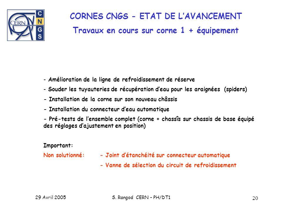 29 Avril 2005S. Rangod CERN - PH/DT1 20 CORNES CNGS - ETAT DE LAVANCEMENT Travaux en cours sur corne 1 + équipement - Amélioration de la ligne de refr