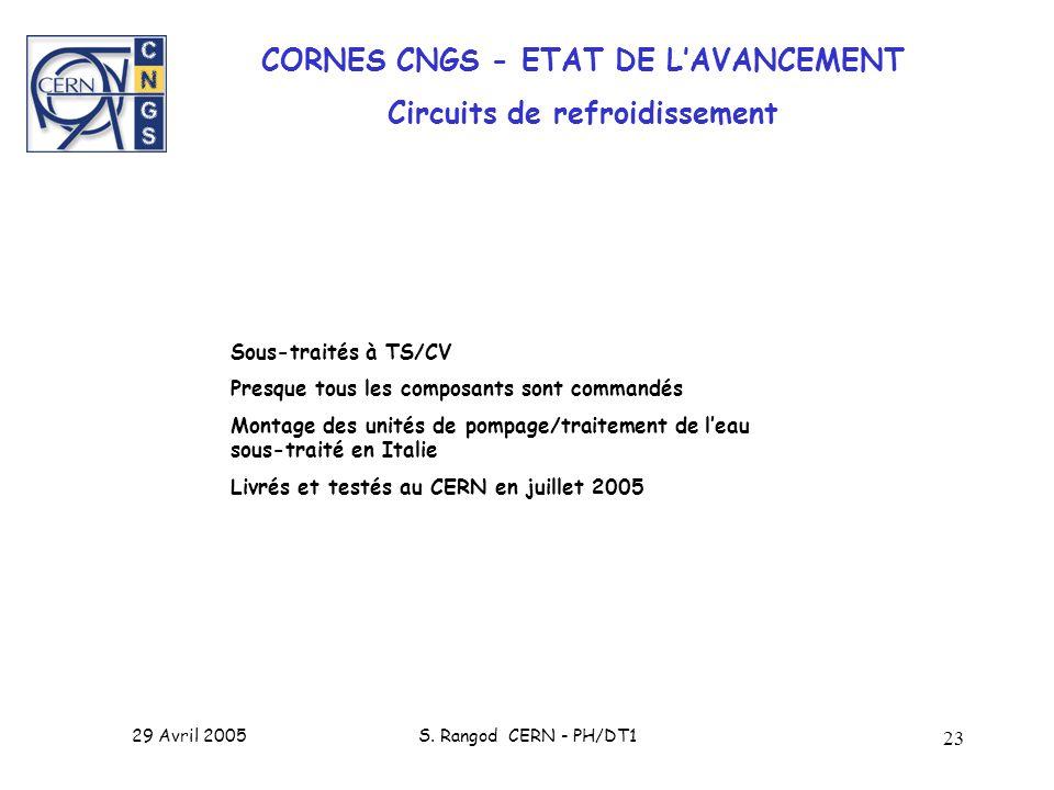 29 Avril 2005S. Rangod CERN - PH/DT1 23 CORNES CNGS - ETAT DE LAVANCEMENT Circuits de refroidissement Sous-traités à TS/CV Presque tous les composants