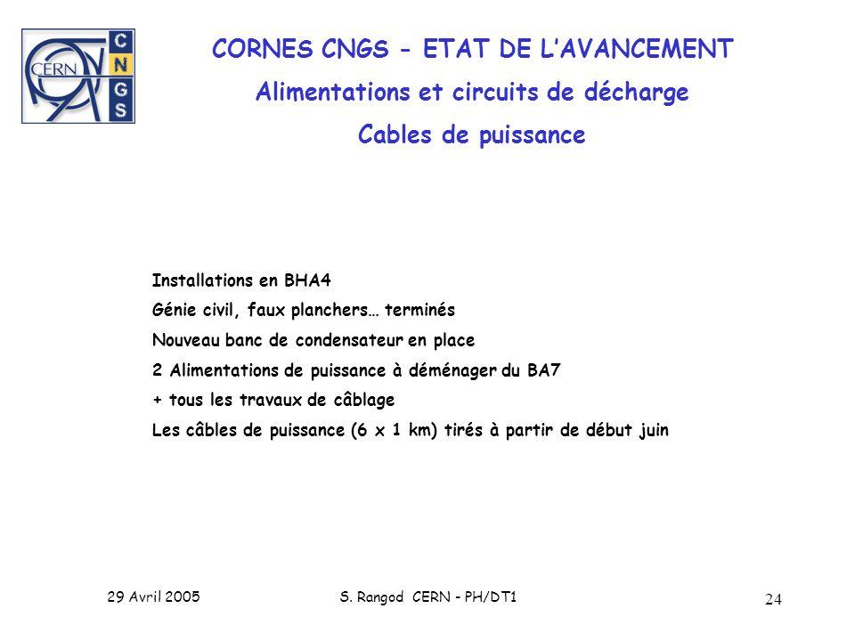 29 Avril 2005S. Rangod CERN - PH/DT1 24 CORNES CNGS - ETAT DE LAVANCEMENT Alimentations et circuits de décharge Cables de puissance Installations en B