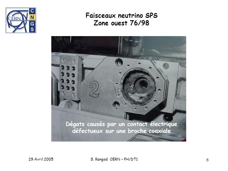 29 Avril 2005S. Rangod CERN - PH/DT1 6 Faisceaux neutrino SPS Zone ouest 76/98 Dégats causés par un contact électrique défectueux sur une broche coaxi