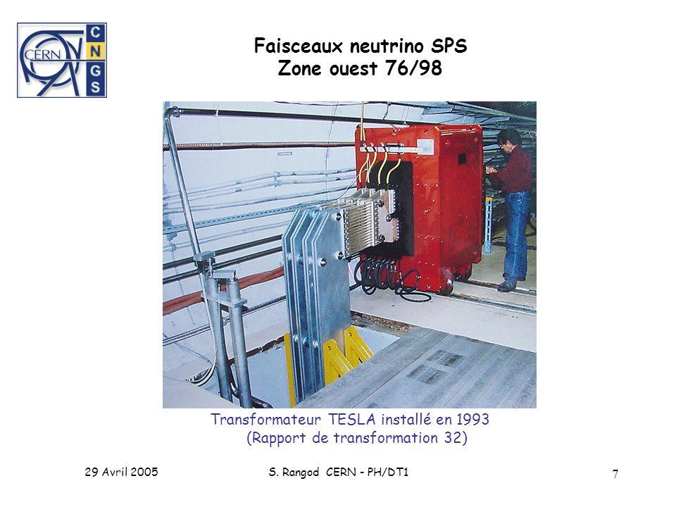 29 Avril 2005S. Rangod CERN - PH/DT1 7 Transformateur TESLA installé en 1993 (Rapport de transformation 32) Faisceaux neutrino SPS Zone ouest 76/98