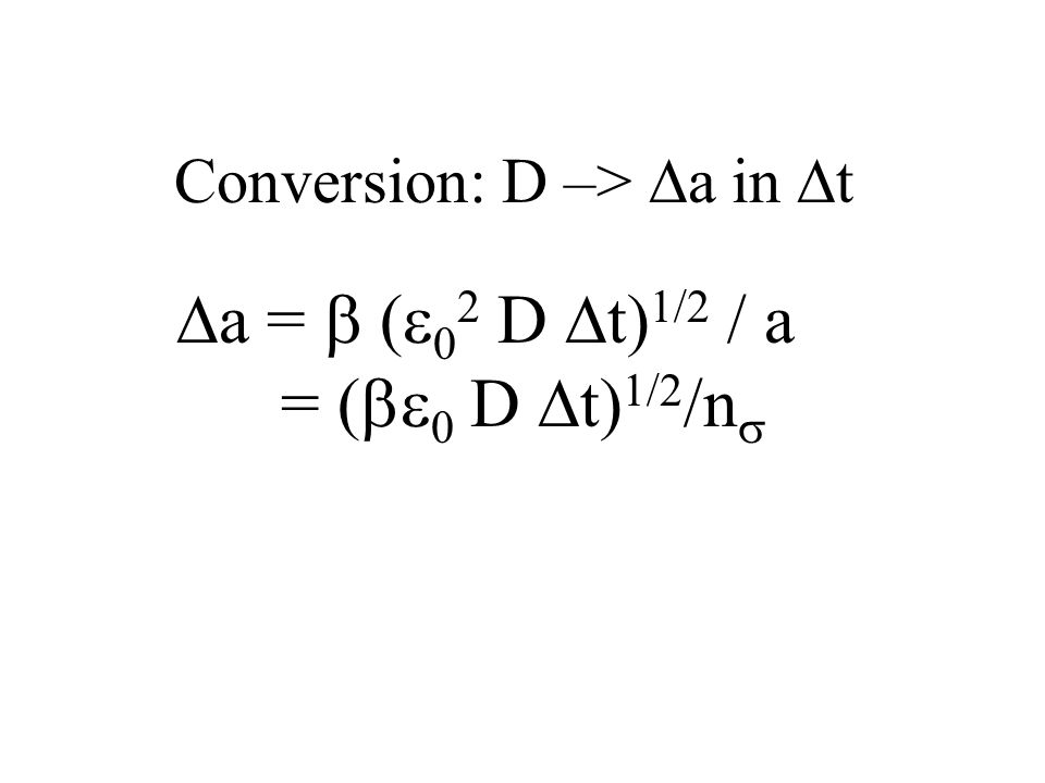 Conversion: D –> a in t a = ( 0 2 D t) 1/2 / a = ( 0 D t) 1/2 /n
