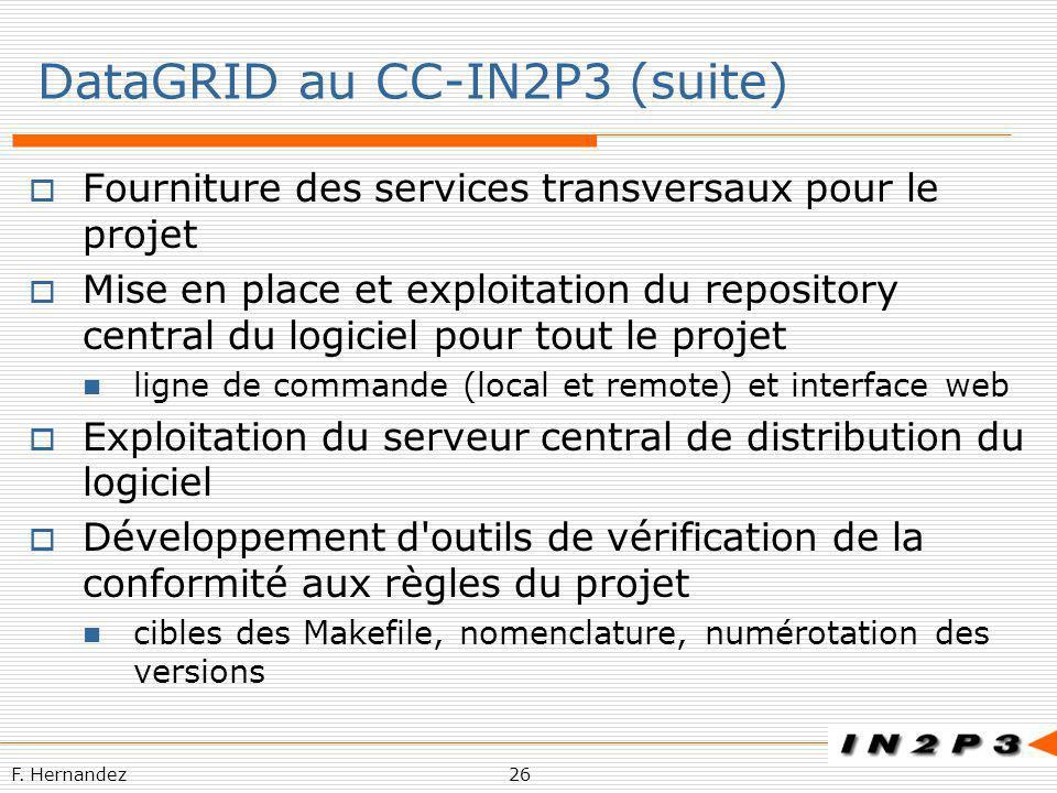 F. Hernandez26 DataGRID au CC-IN2P3 (suite) Fourniture des services transversaux pour le projet Mise en place et exploitation du repository central du