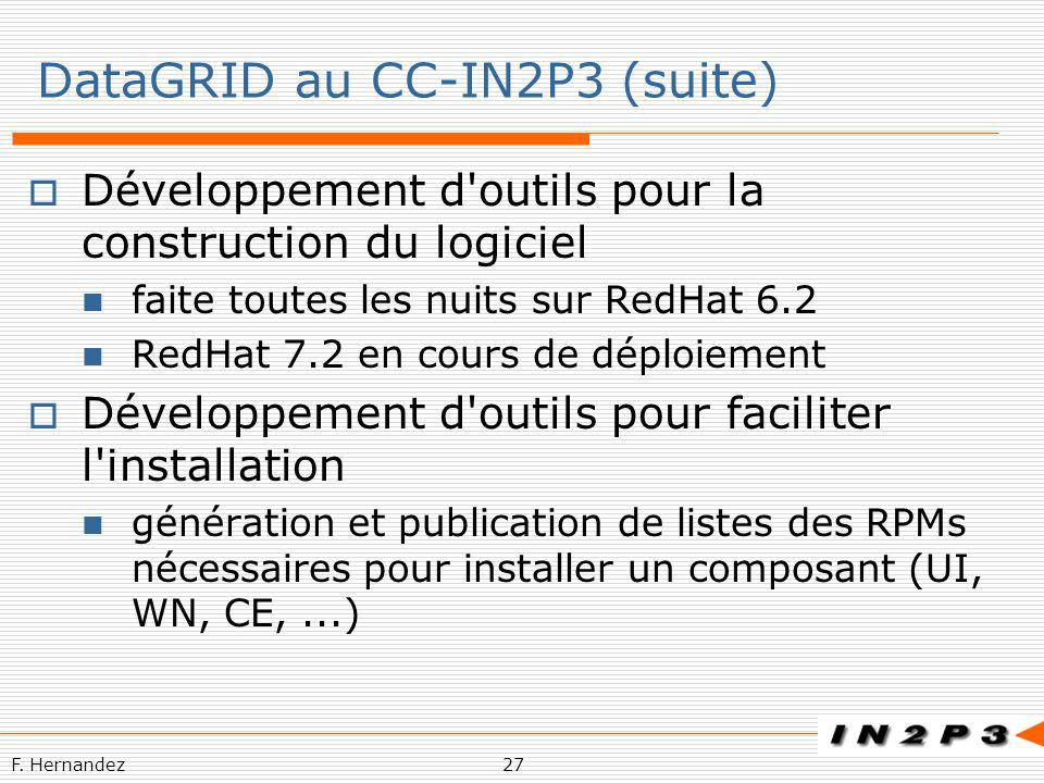 F. Hernandez27 DataGRID au CC-IN2P3 (suite) Développement d'outils pour la construction du logiciel faite toutes les nuits sur RedHat 6.2 RedHat 7.2 e