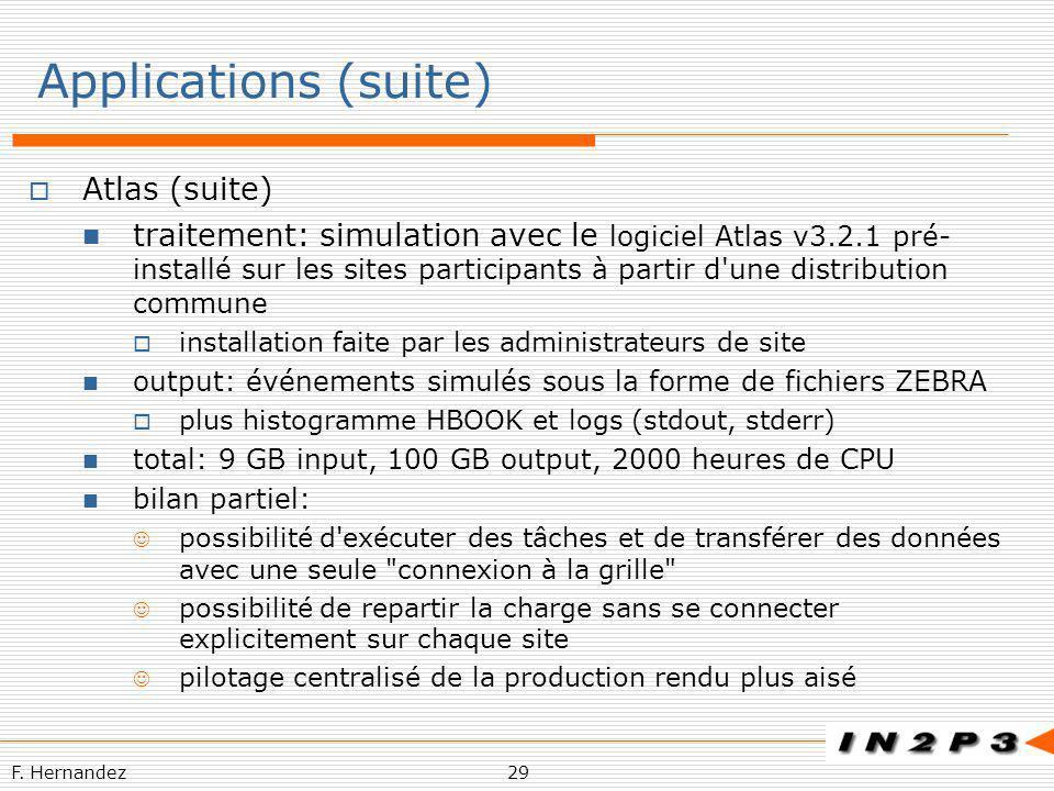 F. Hernandez29 Applications (suite) Atlas (suite) traitement: simulation avec le logiciel Atlas v3.2.1 pré- installé sur les sites participants à part