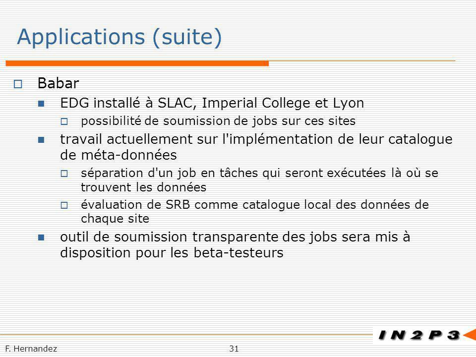 F. Hernandez31 Applications (suite) Babar EDG installé à SLAC, Imperial College et Lyon possibilité de soumission de jobs sur ces sites travail actuel