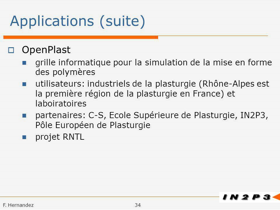 F. Hernandez34 Applications (suite) OpenPlast grille informatique pour la simulation de la mise en forme des polymères utilisateurs: industriels de la