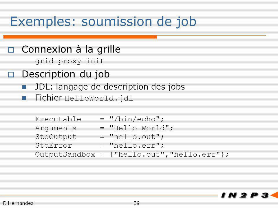 F. Hernandez39 Exemples: soumission de job Connexion à la grille grid-proxy-init Description du job JDL: langage de description des jobs Fichier Hello