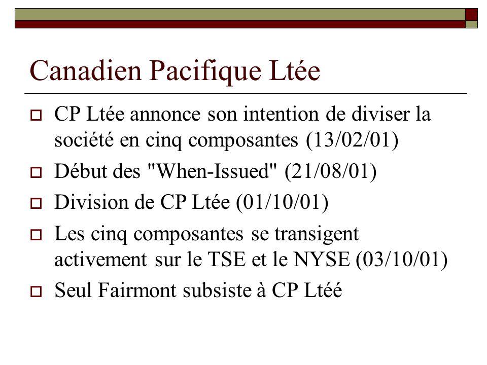 Canadien Pacifique Ltée Objectif de la réorganisation Éliminer l escompte Les conglomérats se transigent sur la base de la VAN moins un escompte.