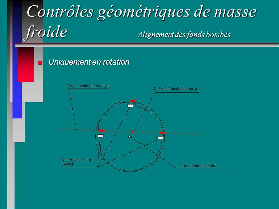 Contrôles géométriques de masse froide Alignement des fonds bombés n Uniquement en rotation