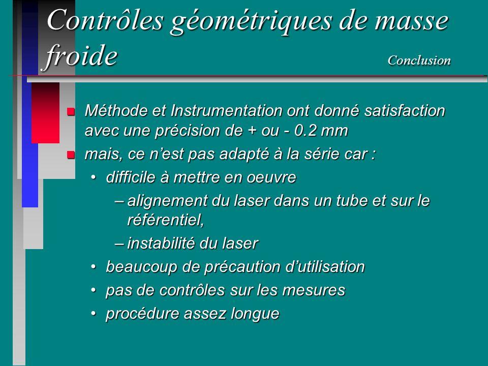 Contrôles géométriques de masse froide Conclusion n Méthode et Instrumentation ont donné satisfaction avec une précision de + ou - 0.2 mm n mais, ce n