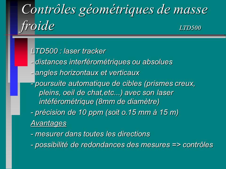 Contrôles géométriques de masse froide LTD500 LTD500 : laser tracker - distances interférométriques ou absolues - angles horizontaux et verticaux - po