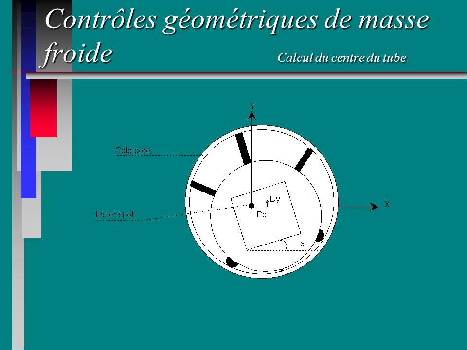 Contrôles géométriques de masse froide Calcul du centre du tube