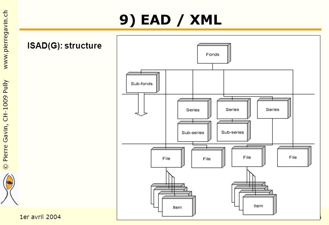 © Pierre Gavin, CH-1009 Pully www.pierregavin.ch 1er avril 2004AILIS Avenir de MARC21116 9) EAD / XML ISAD(G): structure