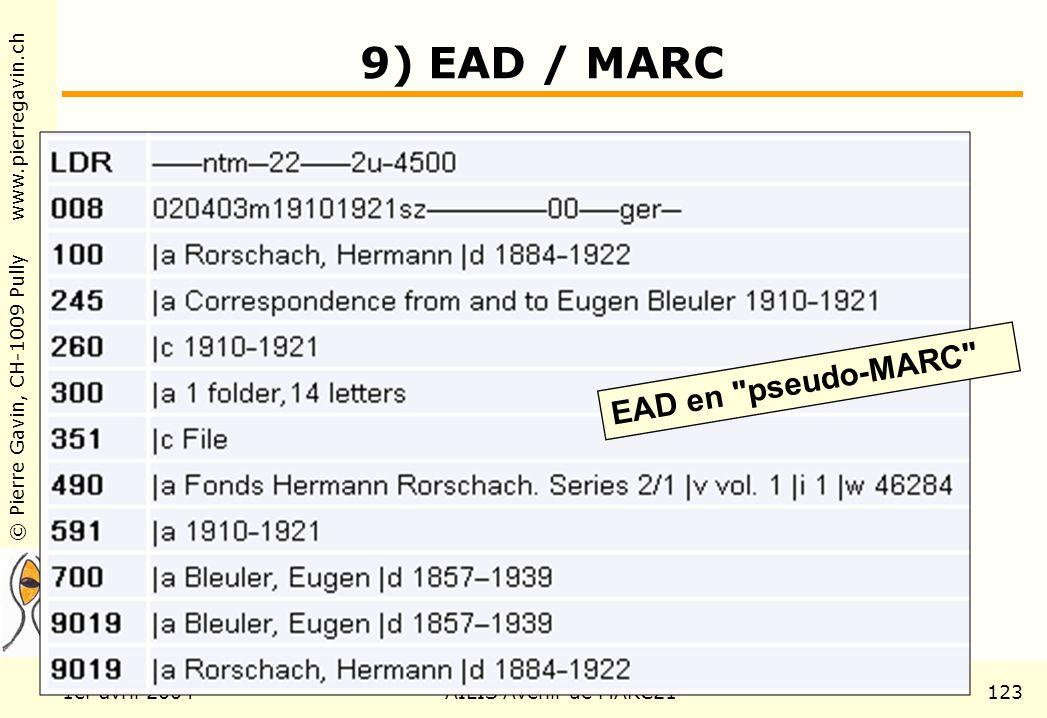 © Pierre Gavin, CH-1009 Pully www.pierregavin.ch 1er avril 2004AILIS Avenir de MARC21123 9) EAD / MARC EAD en pseudo-MARC