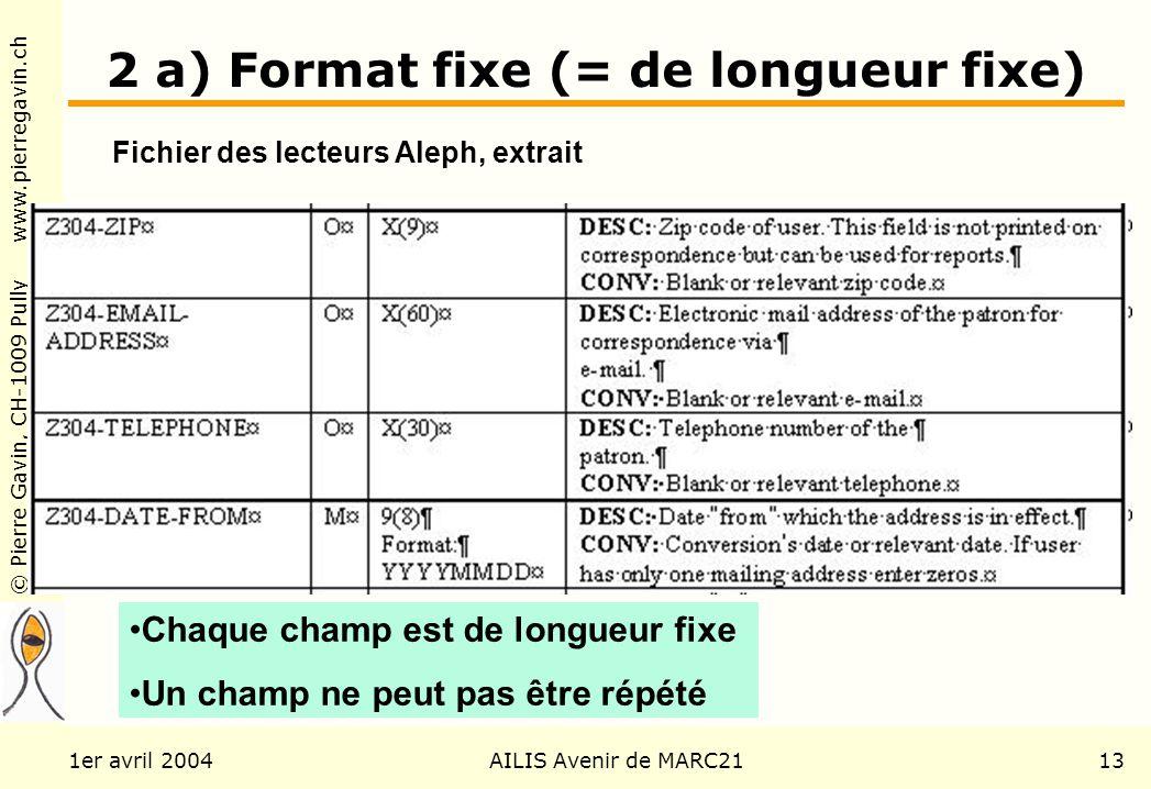 © Pierre Gavin, CH-1009 Pully www.pierregavin.ch 1er avril 2004AILIS Avenir de MARC2113 2 a) Format fixe (= de longueur fixe) Fichier des lecteurs Ale