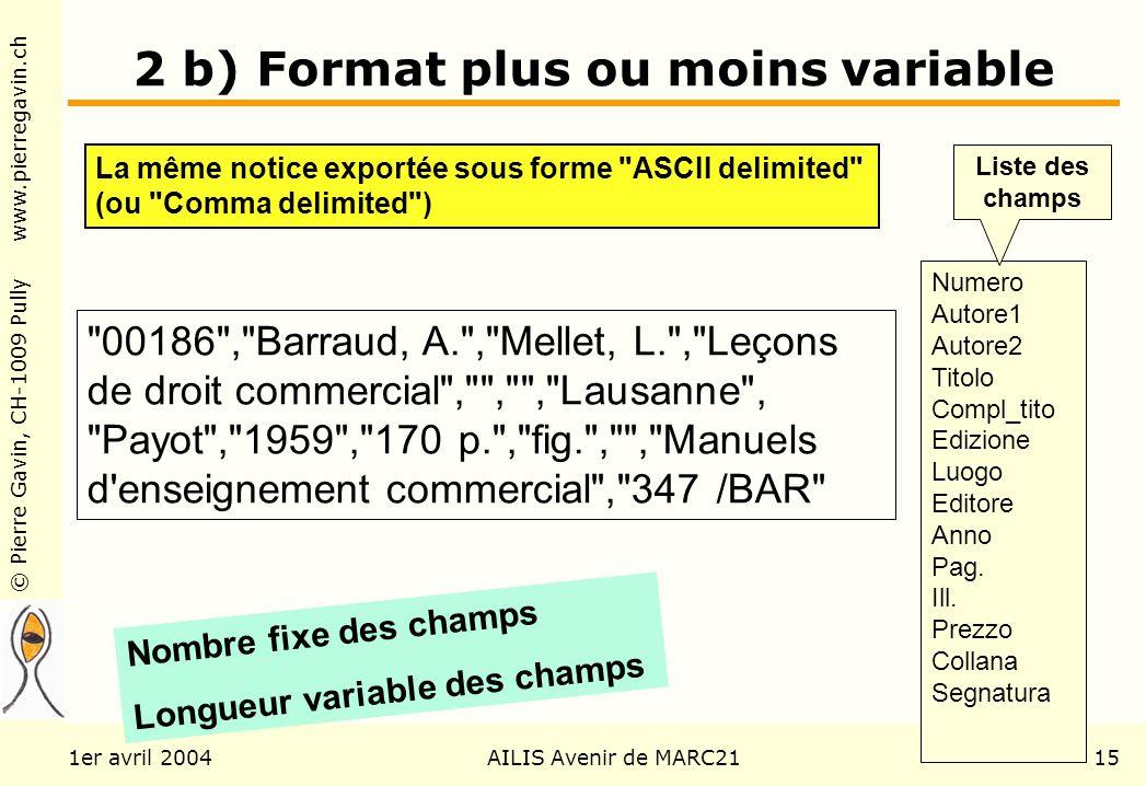 © Pierre Gavin, CH-1009 Pully www.pierregavin.ch 1er avril 2004AILIS Avenir de MARC2115 2 b) Format plus ou moins variable La même notice exportée sou